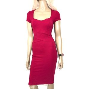 BEBE FITTED MIDI DRESS